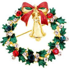 christmas wreath with bell swarovski crystal pin brooch