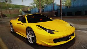 ferrari yellow 458 ferrari 458 for gta san andreas