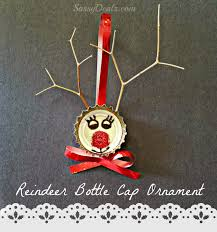 Kids Reindeer Crafts - bottle cap reindeer christmas craft for kids cute ornament idea
