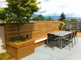 Deck Planters And Benches - clear cedar privacy screen over custom ipe planter benches and