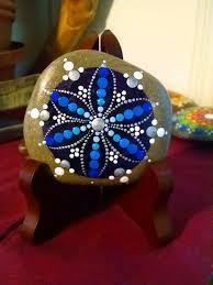 blue frozen flower hand painted stone dot art painted rock