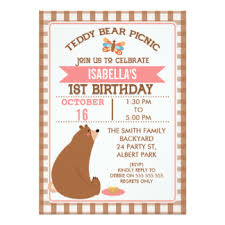 teddy bear picnic invitations u0026 announcements zazzle co uk