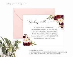 wedding wishes card template burgundy wedding wishing well card template printable wishing