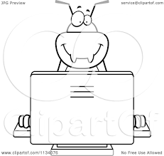 cartoon clipart of an outlined bug using a computer black and