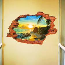 3d broken wall removable wall sticker art decal living room decor