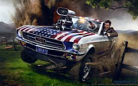 off road mustang illustration of ronald reagan driving off road and wreaking havoc