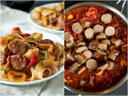 Homemade Comfort Food Recipes Tomato Pappardelle Pasta With Italian Sausage And Peppers Easy