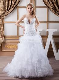 beaded wedding dresses strapless wedding dress with cascading ruffles and beaded bodice