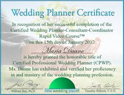 wedding planner license certified wedding certificate wedding ideas 2018