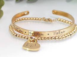 gold bracelet set images Personalized gold bracelet set for mom by tickle bug jewelry jpeg