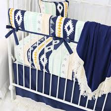 Gold Crib Bedding by Aztec Gold And Mint Boho Fringe Bumperless Crib Bedding Caden Lane