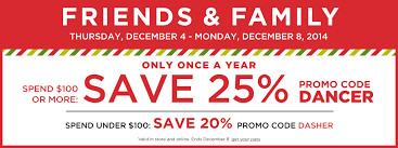 25 at kohl s friends and family sale 2014 with code