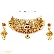 set of gold 22k gold choker necklaces indian gold jewelry from totaram