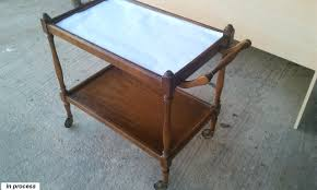 What To Put On End Tables by A Tea Cart From Old Brown To Young White Before U0026 After Pictures