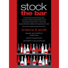 stock the bar party bar shelf berry black stock the bar invitation by noteworthy