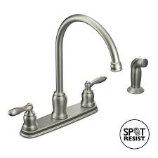 moen stainless steel kitchen faucet shop moen caldwell spot resist stainless 2 handle deck mount high