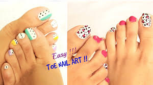 2 easy and quick toe nail art designs tutorial youtube with