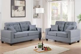 Grey Check Sofa Amazon Com Poundex F7858 Bobkona Aria Linen Like 2 Piece Sofa And