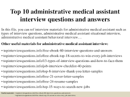 top 10 administrative medical assistant interview questions and answe u2026
