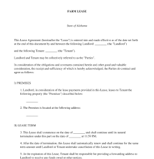 farm lease free sample template word u0026 pdf
