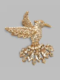 crystal home decor decor jay strongwater hummingbird crystal brooch in metallic with