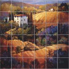 evening glow tuscany kitchen backsplashes tile murals accent tiles