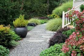 blooming black pea gravel with bainbridge island ornamental