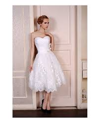 tea length wedding dresses a line sweetheart tea length wedding dresses lace satin tulle