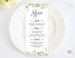 wedding menu templates wedding menu template leafy menu template menu card green