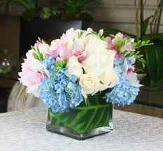 white hydrangeas blue hydrangeas white roses