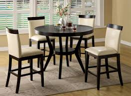 dining room 4 person dark brown stained oak wood counter height
