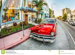 vintage ford car parks in the art deco district in miami florida