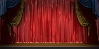 photo 3d theater scene set with red velvet curtains image 2630779