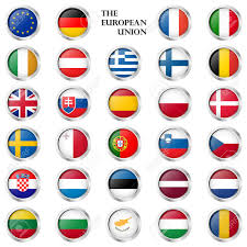 Europe Country Flags Collection Of Round Buttons With Different Eu Country Flags And