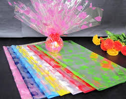 free shipping 50pcs print cellophane plastic paper flower wrapping