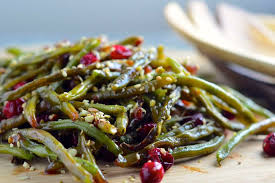 roasted green beans with fresh cranberries dukkah recipe on food52
