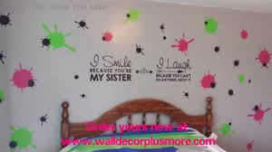 splatter vinyl wall sticker and sister vinyl decal quote girls