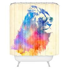 sunny leo sunglasses shower curtain blue purple cream deny