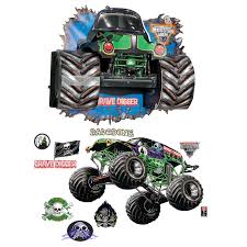 monster trucks grave digger bad to the bone monster jam 3d giant decals and wall burst kit birthdayexpress com