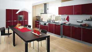 luxury kitchen design with unique red gloss cabinets using