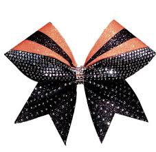 african american cheer hair bows sublimation orange and black glitter rhinestone cheer bow