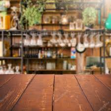 Kitchen Background Empty Table And Blurred Kitchen Background Product Display