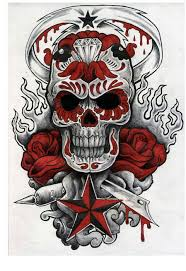 sugar skull with flames roses