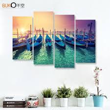 4panels canvas painting sunrise sea over the venetian harbor