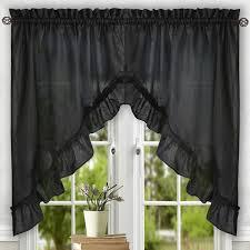 black ruffle curtains ruffled curtains ebay waterfall black