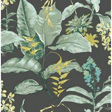 ps41814 maui black botanical wallpaper by kenneth james