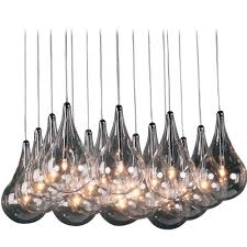 modern low voltage multi light pendant light with clear glass and