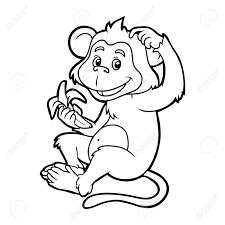 livre de coloriage pour les enfants singe avec une banane clip