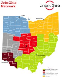 ohio on the map of usa map of jobsohio network regions