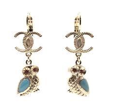 pierced earrings chanel gold 16252 2018 18c owl dangle pierced earrings tradesy